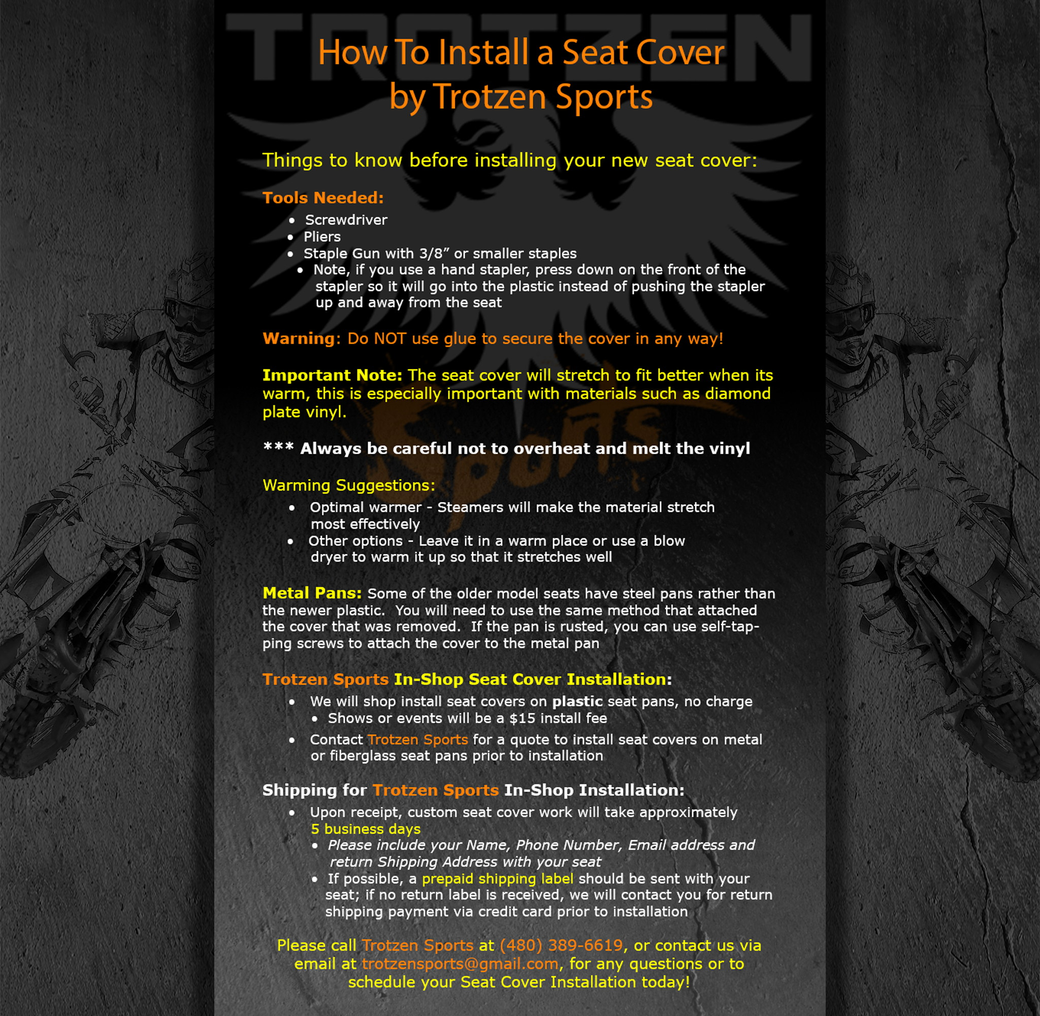 Pleasing Seat Cover Installation Instructions Trotzen Sports Bralicious Painted Fabric Chair Ideas Braliciousco